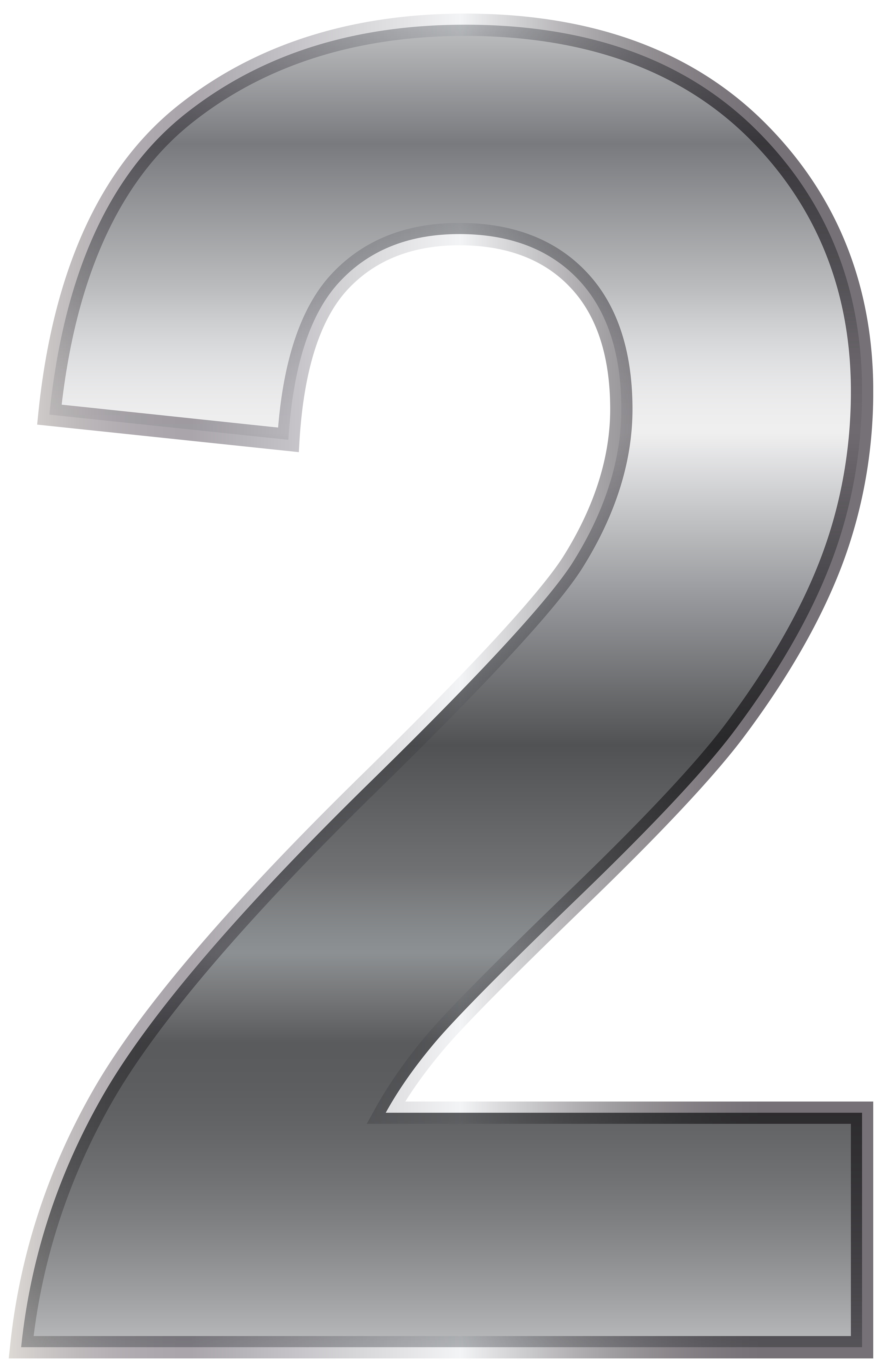 clip art royalty free library Silver number two png. Numbers transparent.