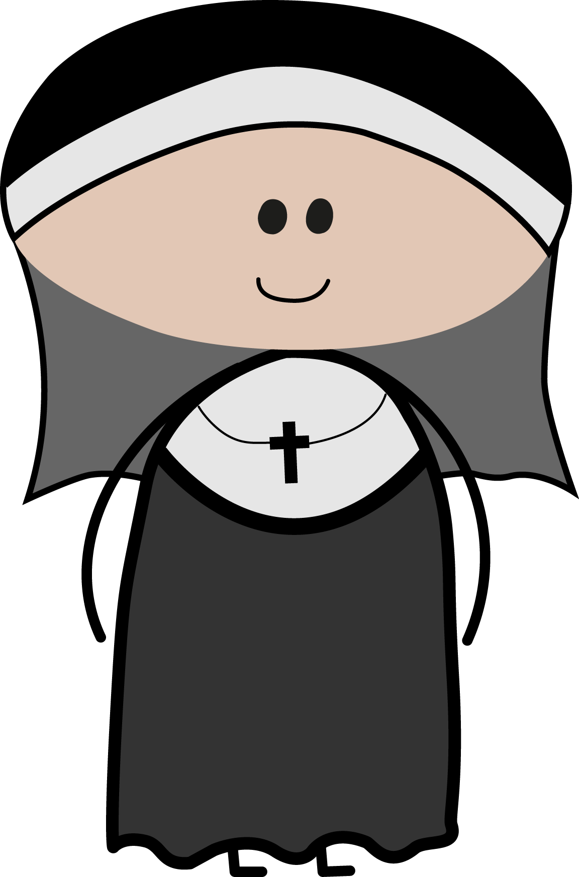 svg black and white cute nun clipart