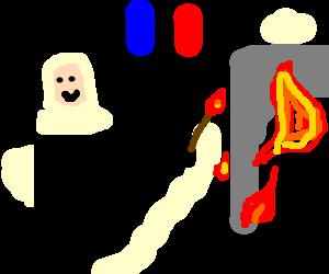 banner freeuse download Burns down arc de. Nun clipart dancing