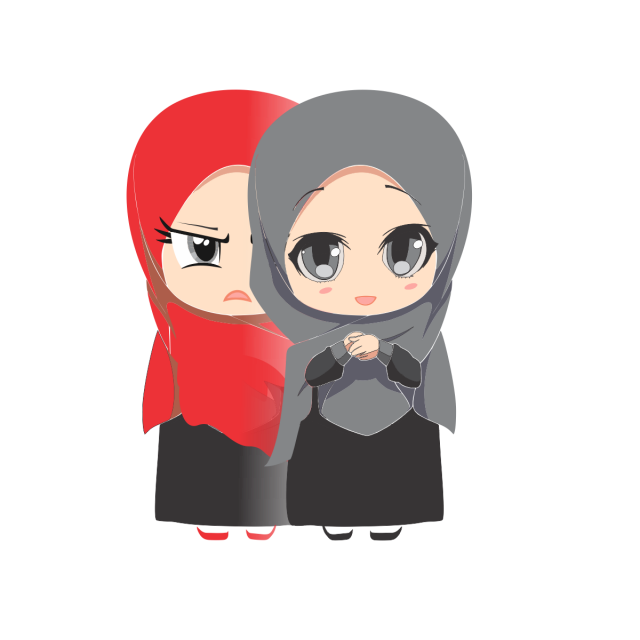 graphic library stock Cute Muslim Cartoon Girl