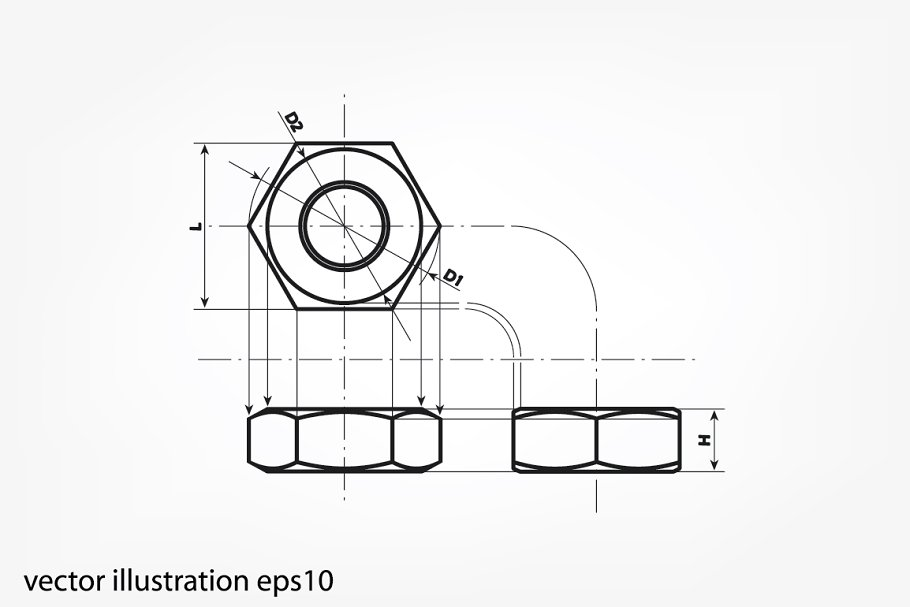 royalty free library Nut drawing. Three projection