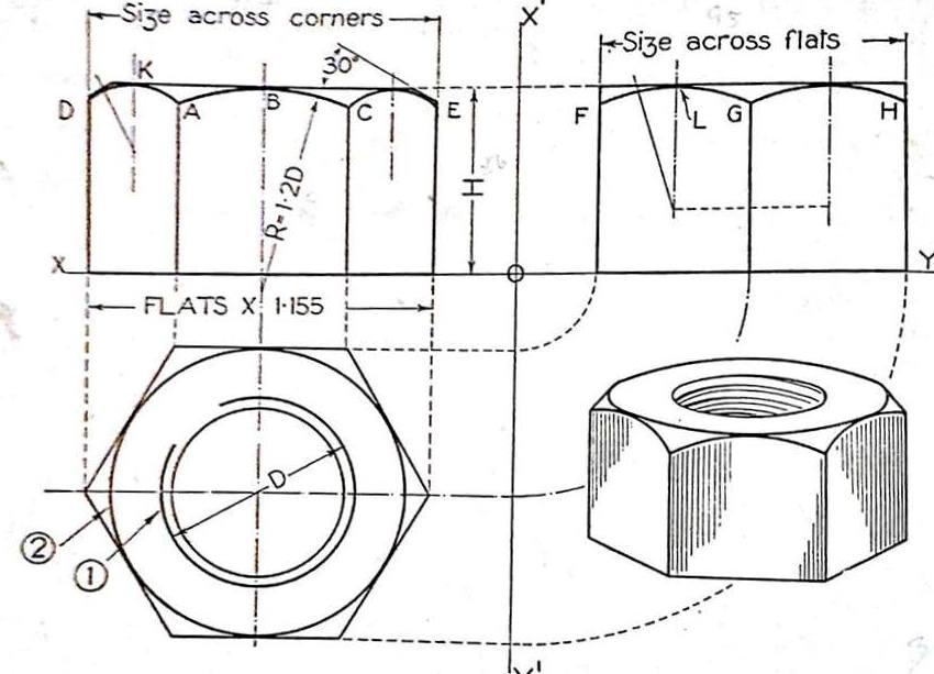 png stock Nut drawing. Machine hexagonal