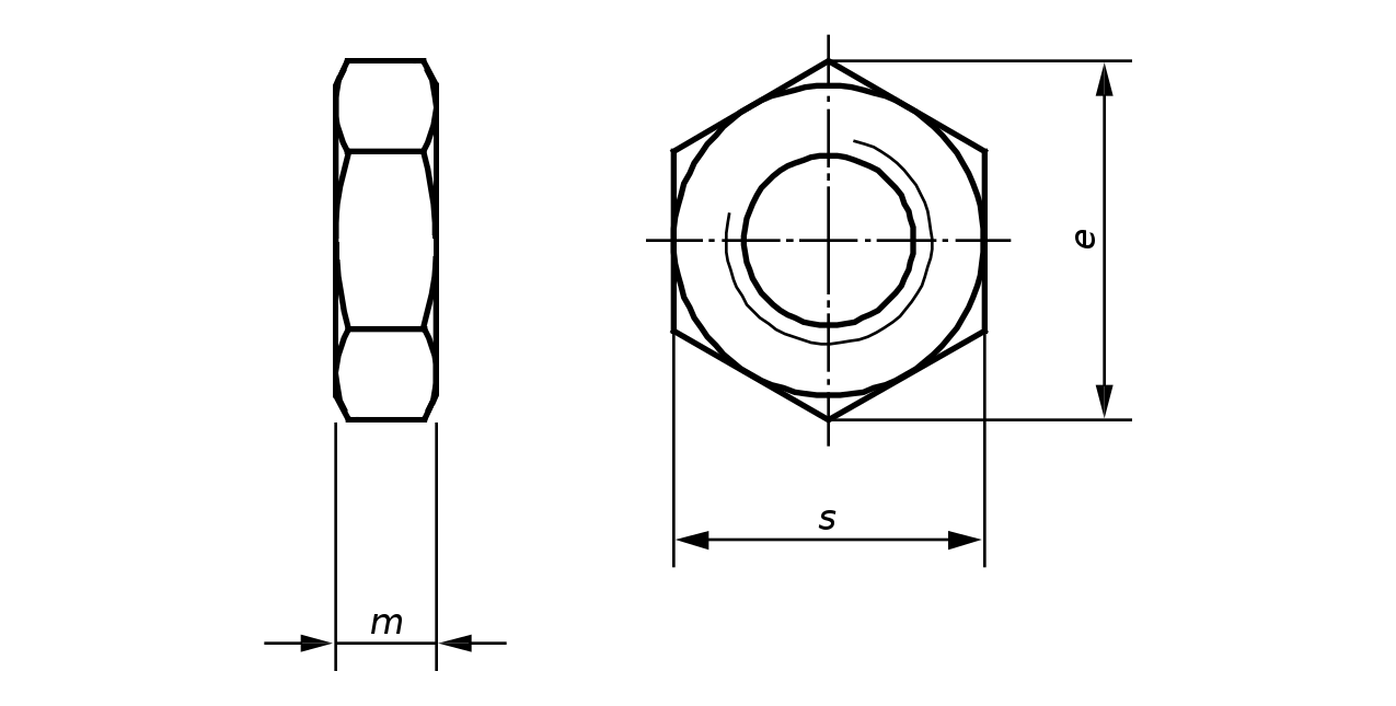 freeuse download Nut drawing. Din lock hexagon thin