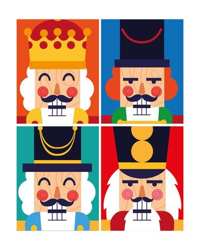 vector free library Nutcracker face clipart. Set of faces download