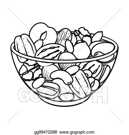 graphic black and white stock A mixture of different. Nuts clipart black and white