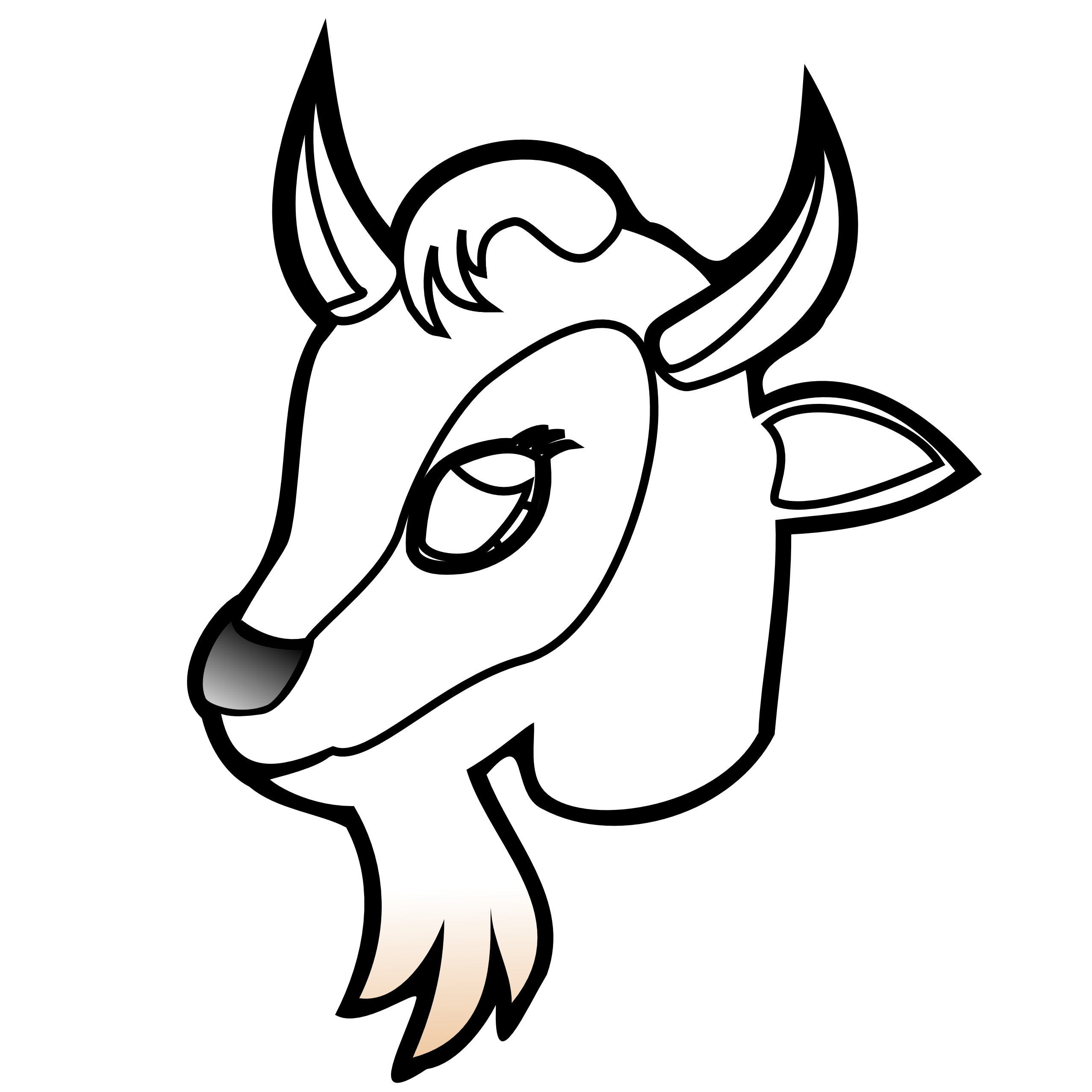 image freeuse Oatmeal black and white. Goat head clipart