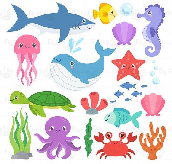png black and white download Ocean animal clipart. Sea animals clip art