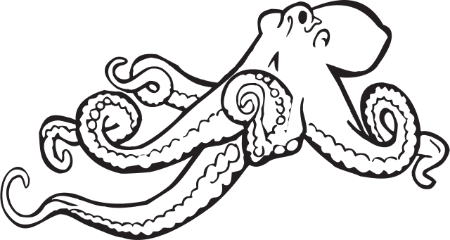 clipart black and white Octopus clipart. File svg wikimedia commons.