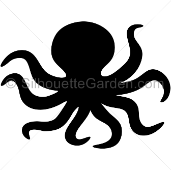 black and white stock Octopus silhouette clip art