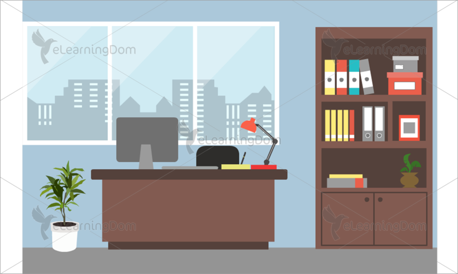 png transparent library Window cartoon table transparent. Office clipart.