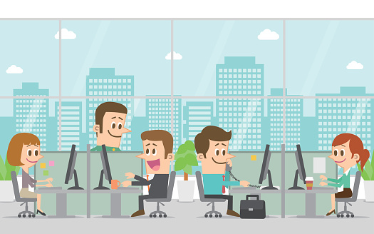 svg freeuse stock Office clipart. People working in clip.