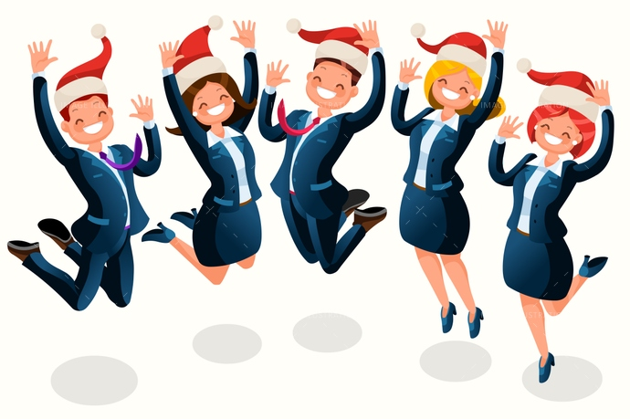 clip art download Christmas isometric people cartoon. Office party clipart