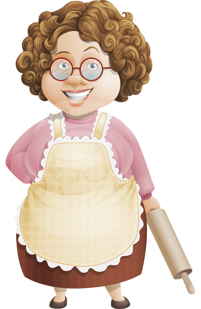 banner Granny five course meal. Old clipart sweet person.