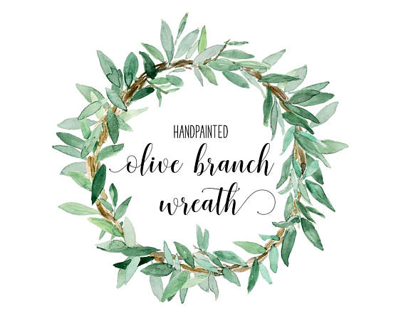 graphic library Olive branch wreath clipart. Instant download watercolor in