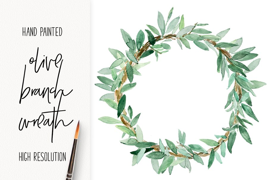 clipart royalty free download Hand painted illustrations creative. Olive branch wreath clipart