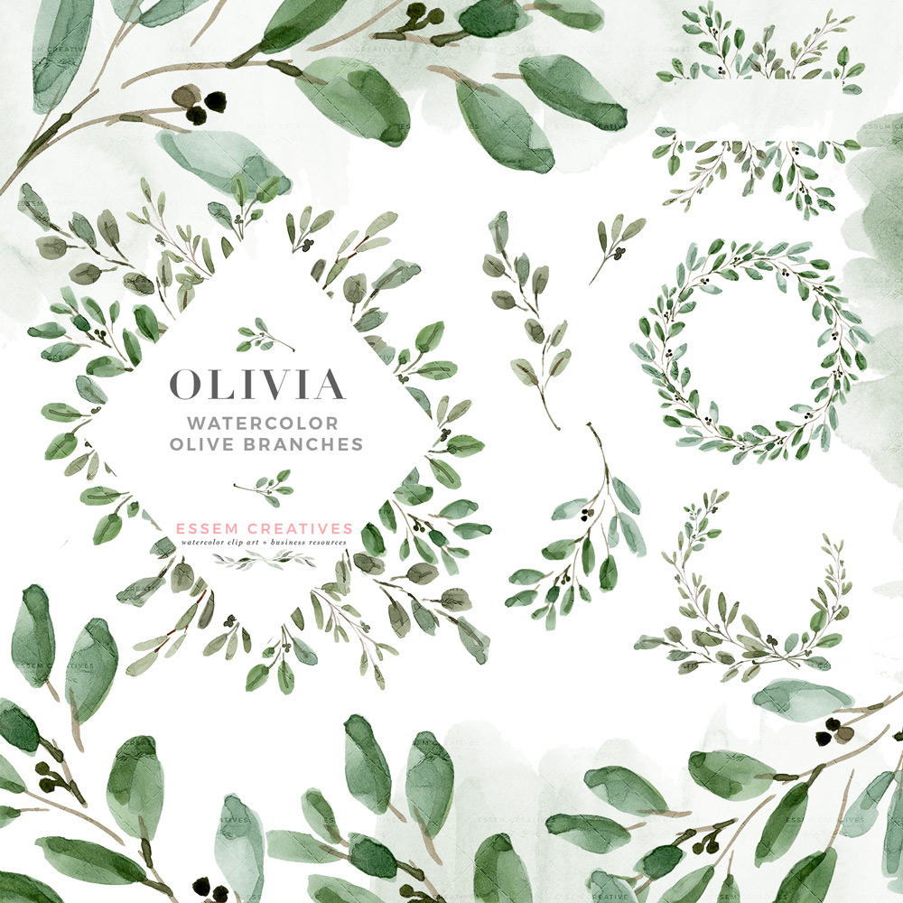 svg transparent library Watercolor leaves rustic laurel. Olive branch wreath clipart