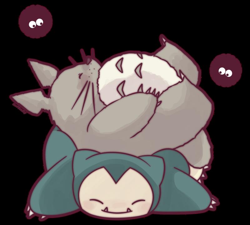 graphic royalty free stock Drawing running miyazaki. Totoro and snorlax by