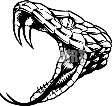 transparent Snake with drawing at. Open mouth clipart black and white