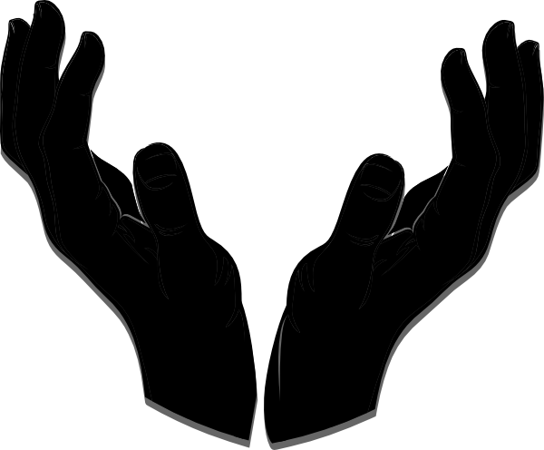vector royalty free download Open hand clipart black and white. Silhouette at getdrawings com