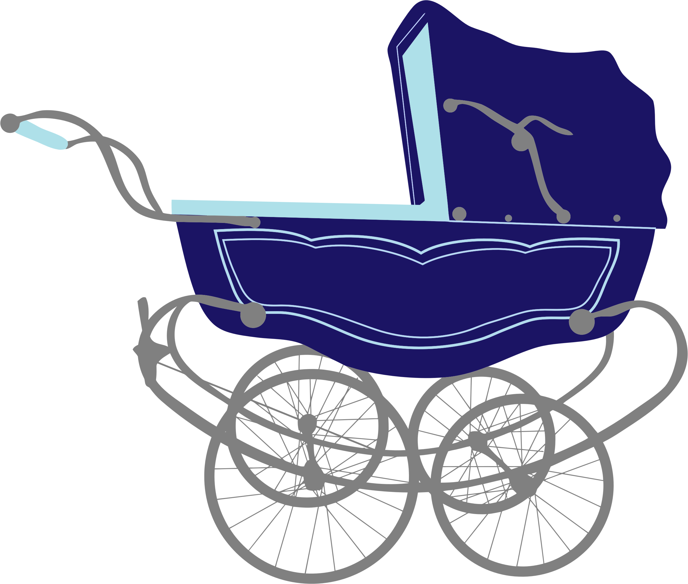 graphic freeuse download Clipart vintage blue carriage. Vector baby stroller