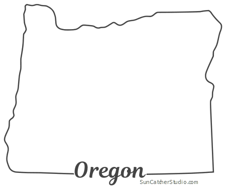 graphic black and white library Map outline printable state. Oregon vector.