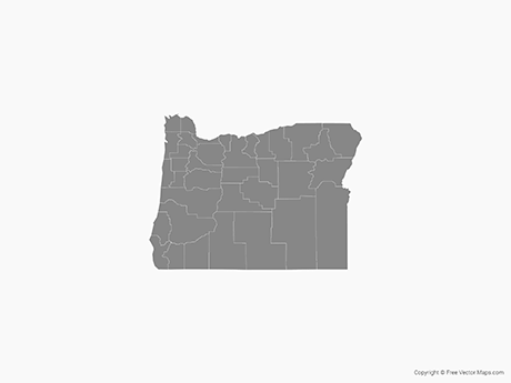 graphic royalty free library Oregon vector. Map of with counties.