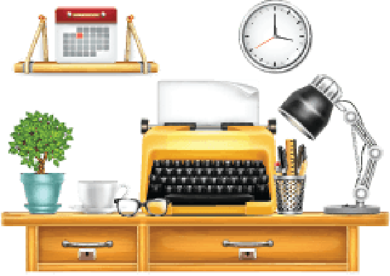 clip art black and white download Desk with Typewriter