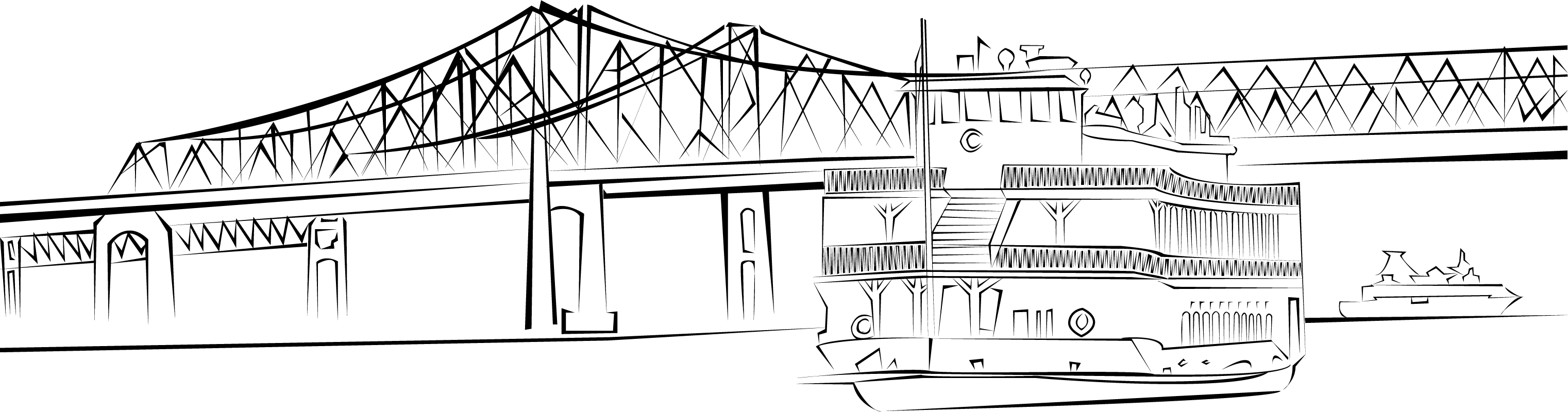 graphic freeuse New orleans steam boat. Bridge clipart black and white