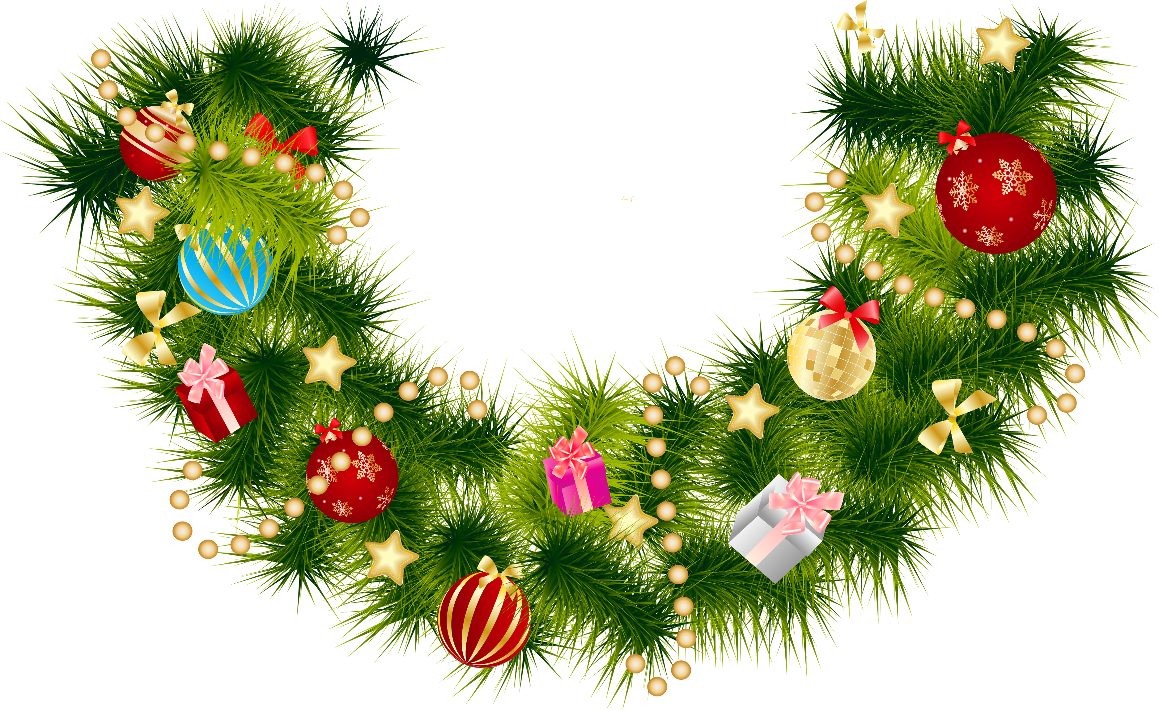 jpg library stock Christmas Pine Branch Garland with Ornaments