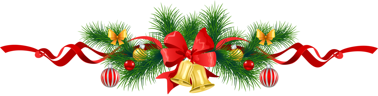 clip art transparent Transparent Christmas Pine Garland with Gold Bells Clipart