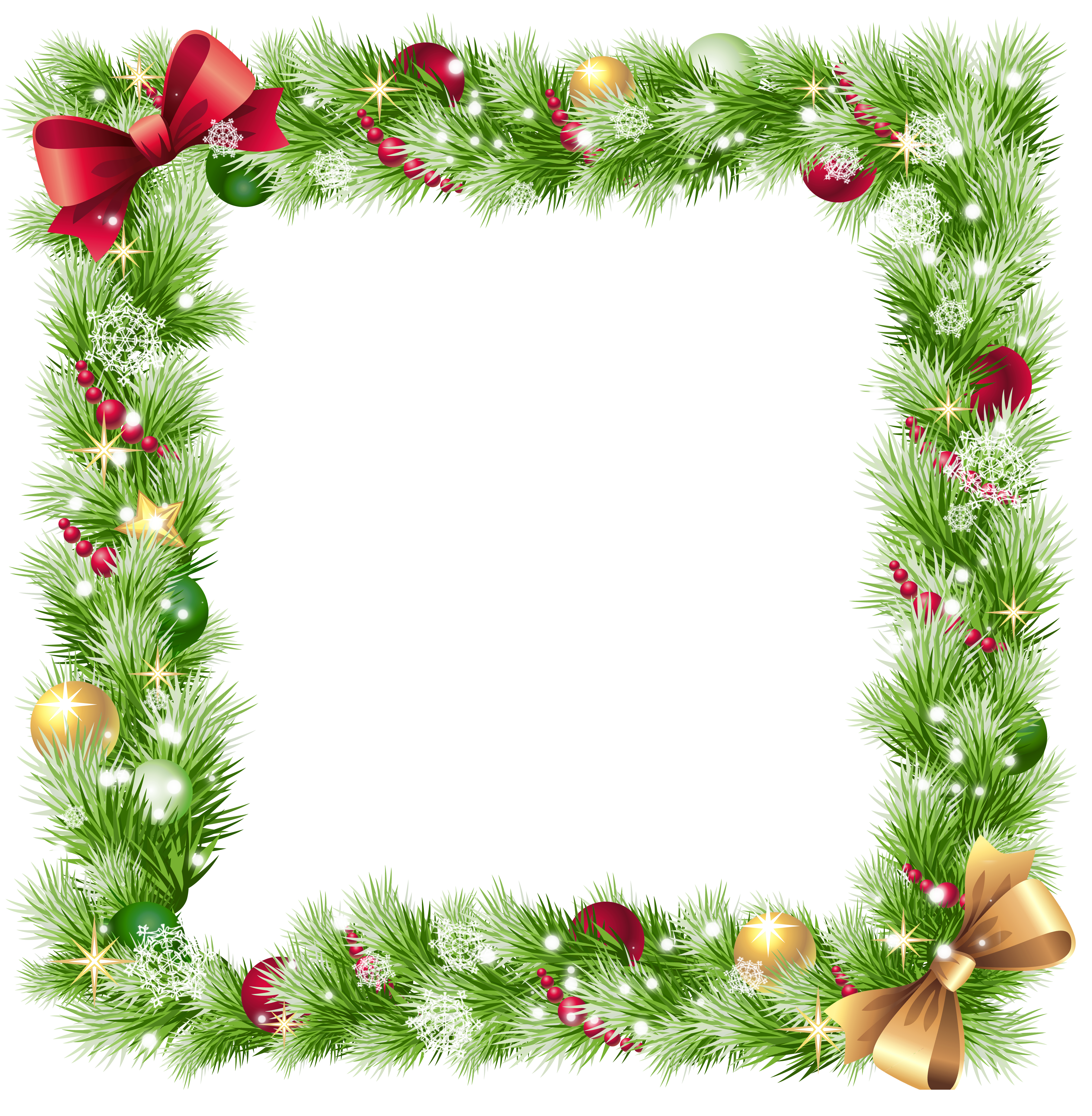download Christmas PNG Frame with Ornaments and Snowflakes