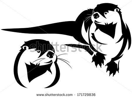 jpg Otter vector. Symbol sea clip art.