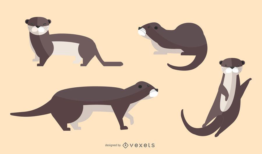 jpg transparent library Otter vector. Flat illustration set download.