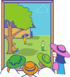 image transparent Out clipart. Kids looking window clip