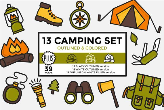 graphic stock Outdoors clipart. Camping hiking elements set