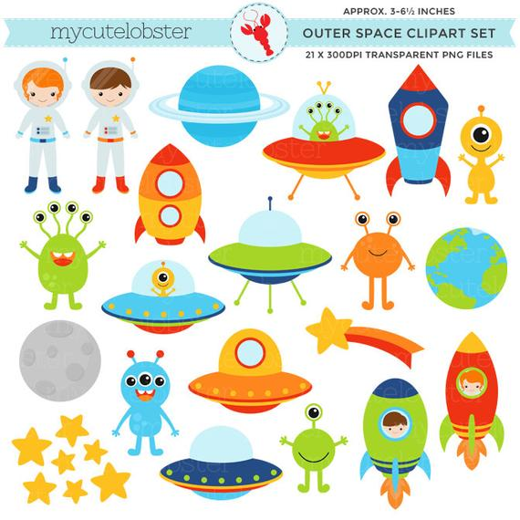 clip freeuse library Outer clipart. Space set clip art