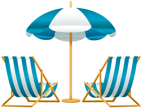 svg Beach Umbrella with Chairs Free PNG Clip Art Image