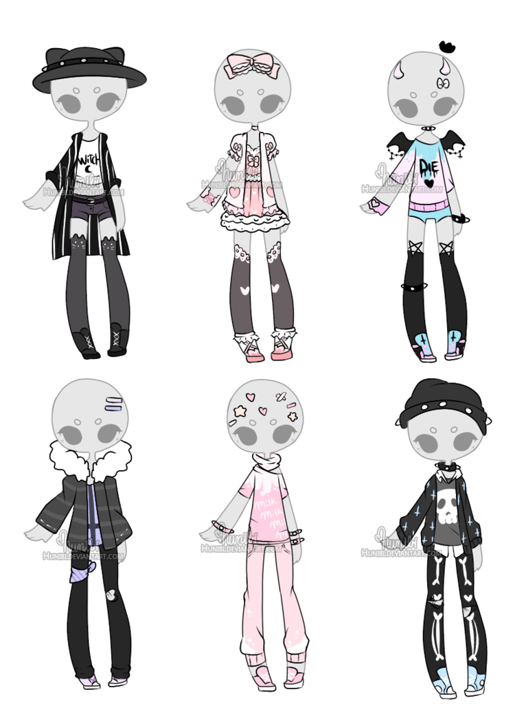 transparent stock Outfit adoptable mix closed. Drawing outfits spring