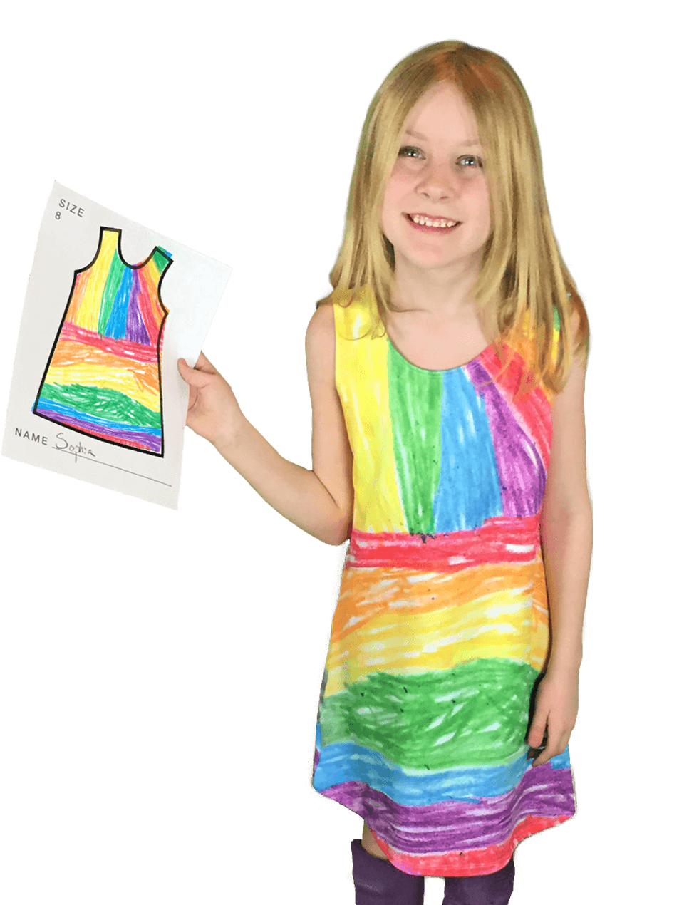 vector royalty free Drawing outfits kid. Turn kids drawings into