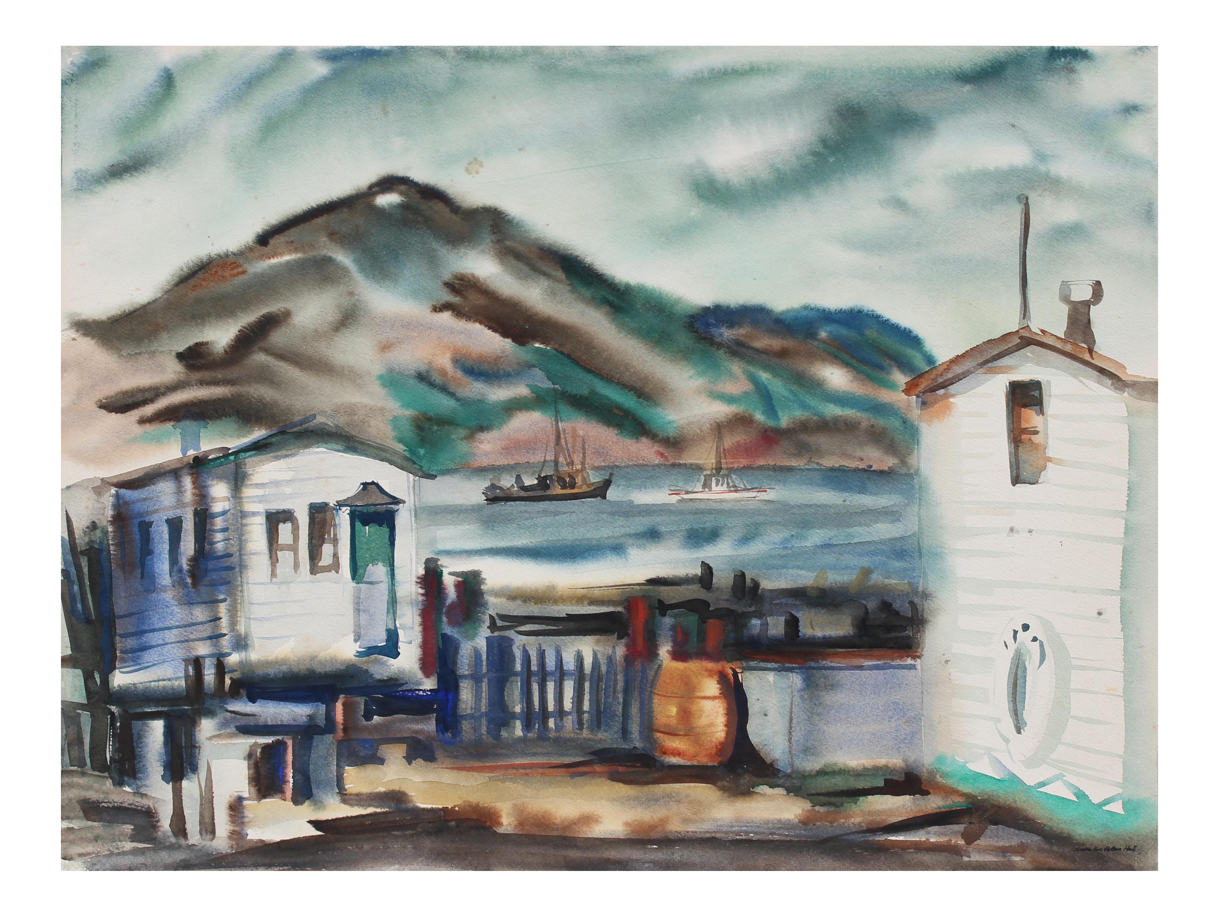 clip art transparent download Foggy Bay Area Landscape in Watercolor