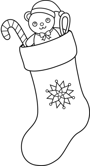 image free stock Christmas stocking clipart black and white. Present outline collection tree