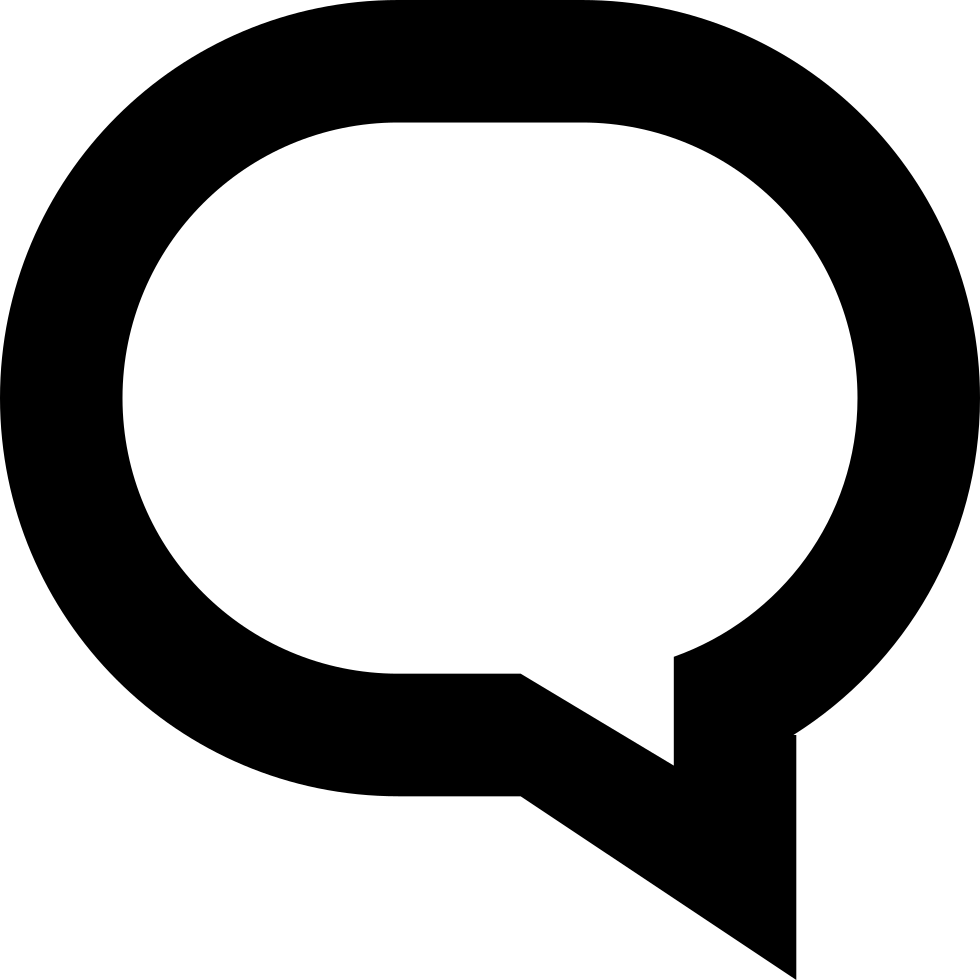 black and white stock Oval Speech Bubble Outline Svg Png Icon Free Download