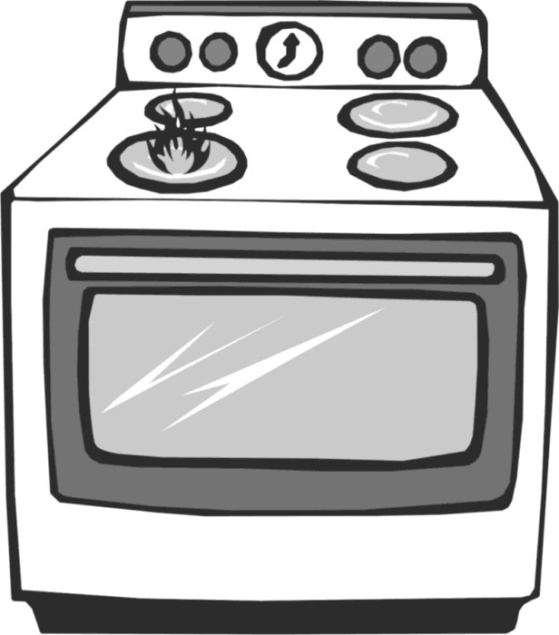 black and white library  collection of clipart. Oven drawing