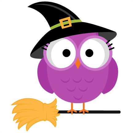 clip black and white library Witch owl svg scrapbook. Pink clipart halloween