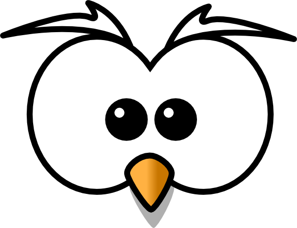 clipart black and white download owl face clipart #62746474