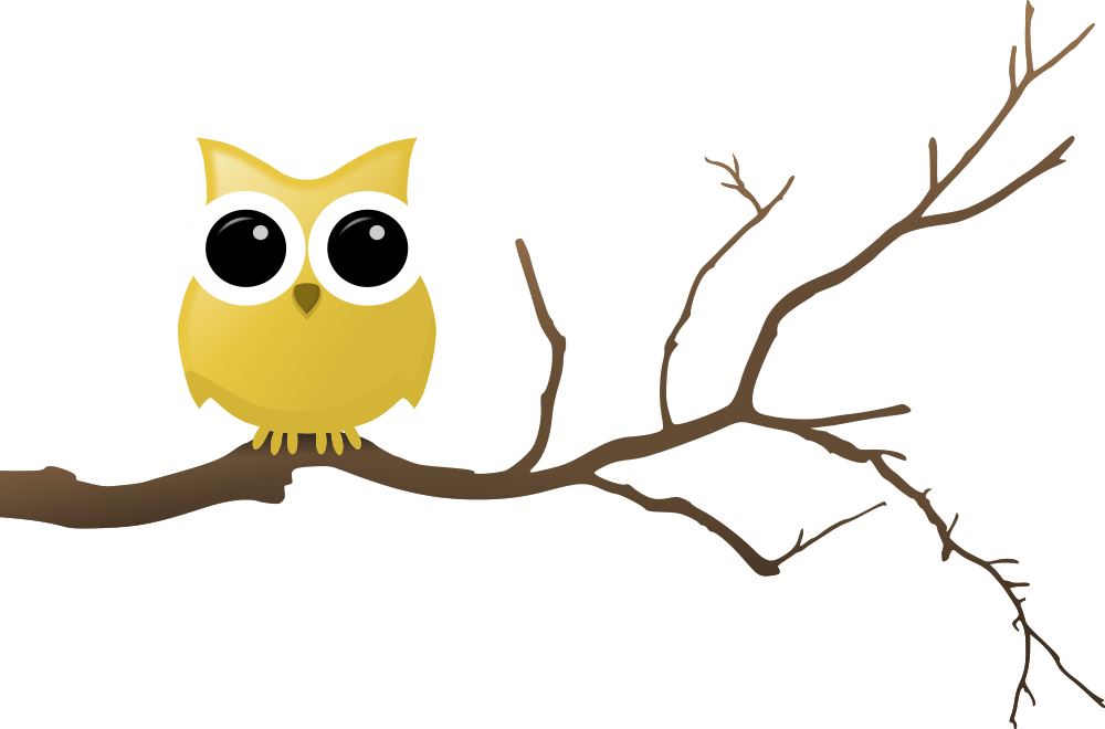 graphic royalty free stock Yellow Owl on Tree Branch