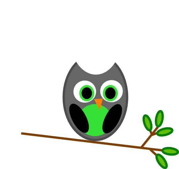 svg transparent download Cute Owl On Tree Clipart