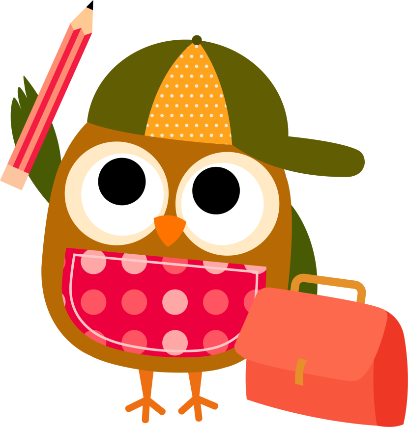 banner stock Owl With Pencil Clipart