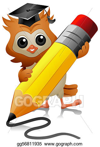 picture free Drawing gg gograph . Owl writing clipart