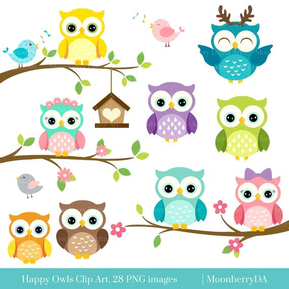 svg royalty free library Happy clip art digital. Owls clipart.